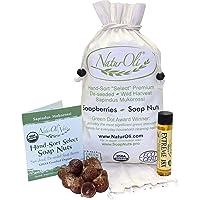 NaturOli Soap Nuts/Soap Berries. 1-Lb USDA ORGANIC (240 loads) + 18X BONUS! (12 loads) Select Seedless. Wash Bag, Tote…