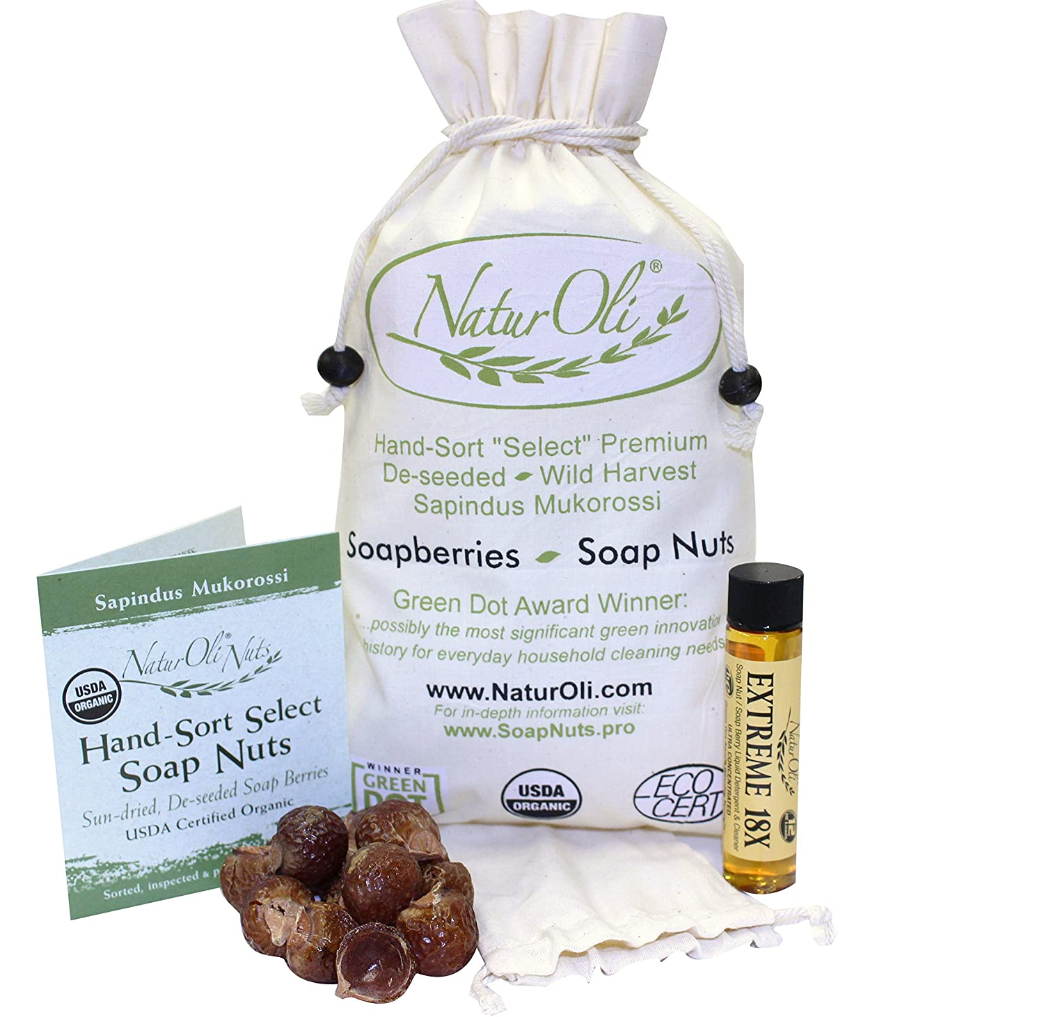 NaturOli Soap Nuts/Soap Berries. 1-Lb USDA Organic (240 Loads) + 18X Bonus! (12 Loads) Select Seedless. Wash Bag, Tote Bag, 8-pg info. Organic Laundry Soap/Natural Cleaner. Processed in USA!