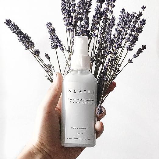 Perfectamente Sanitizer desinfectante de manos (100 ml) orgánico lavanda, hand-sanitiser dispensador atomizador de con IR, fumigación para manos y piel: ...