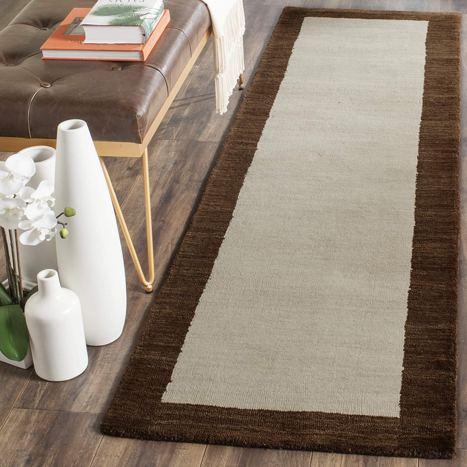 Amazon Com Safavieh Himalaya Collection Him585a Handmade Premium Wool Runner 2 3 X 6 Beige Dark Brown Furniture Decor