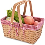Picnic Basket Natural Woven Woodchip with Double Folding Handles | Easter Basket | Storage of Plastic Easter Eggs and Easter
