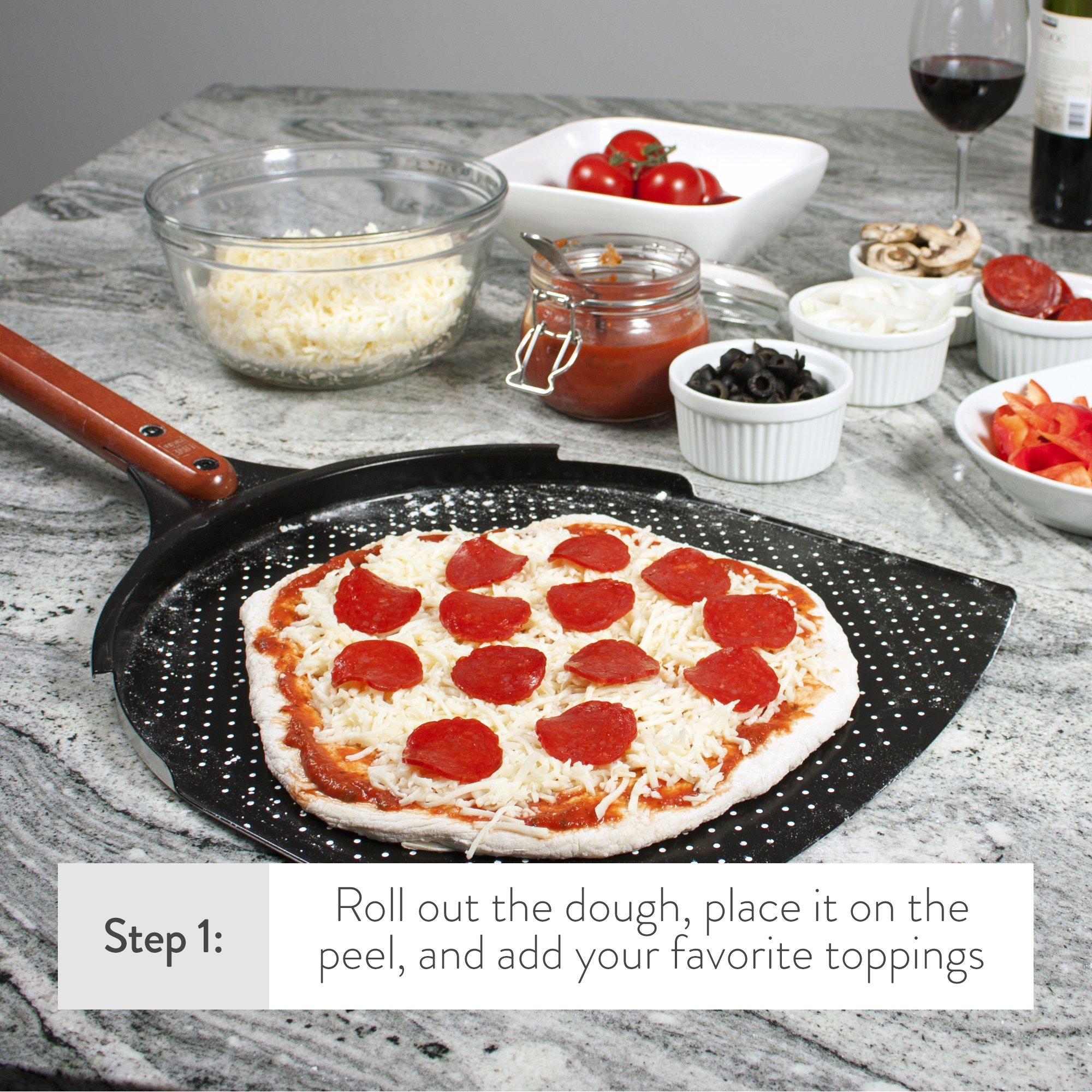 The Ultimate Pizza Making Set - 14'' x 16'' Pizza Stone, 14'' Aluminum Pizza Peel and 14'' Stainless Steel Rocker Pizza Cutter | Great for Baking Pizza, Cookies and Bread in Any Oven or Grill by Love This Kitchen (Image #4)