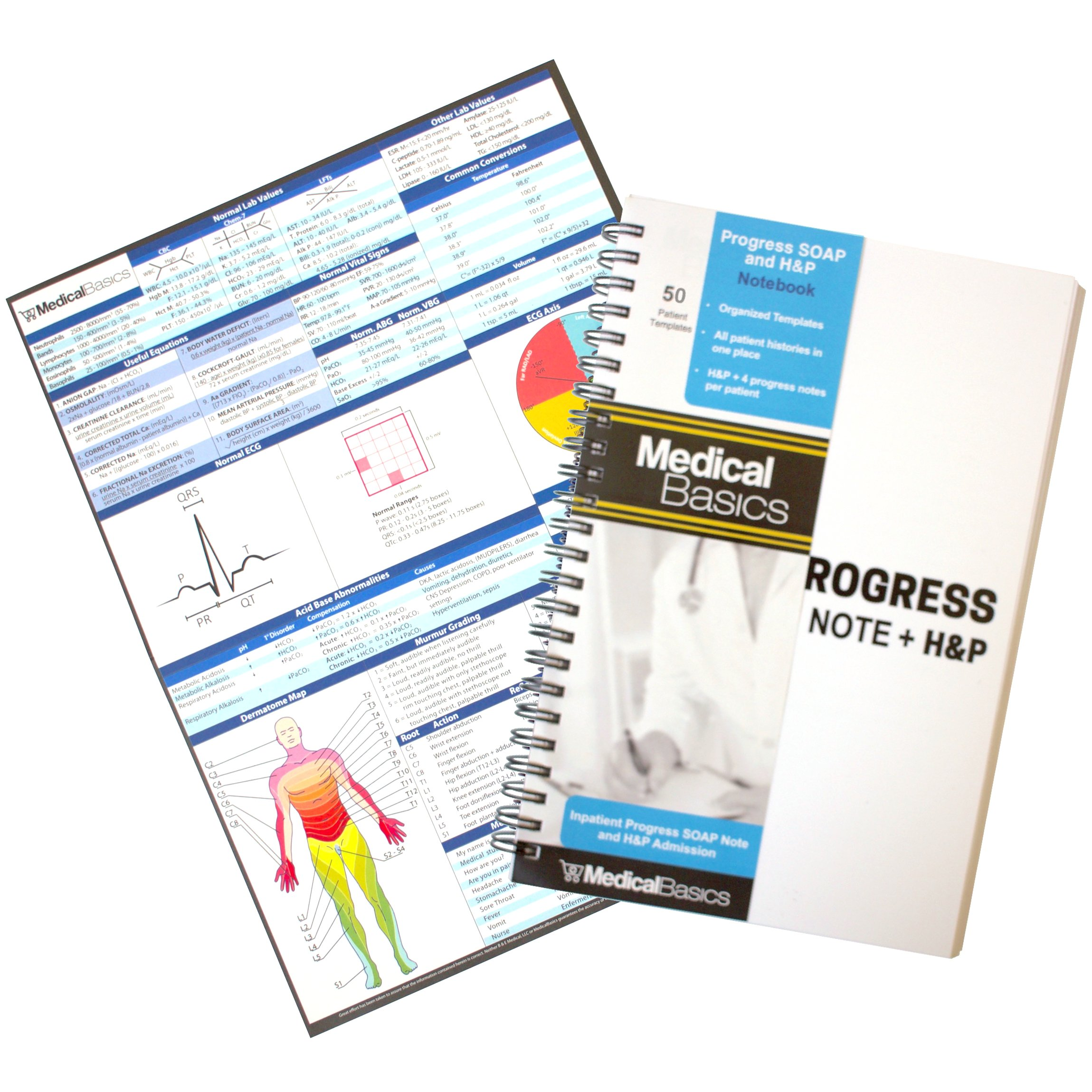 Progress & H&P + 4 Day SOAP Notebook - Progress Note + Medical History and Physical notebook, 50 templates with perforations