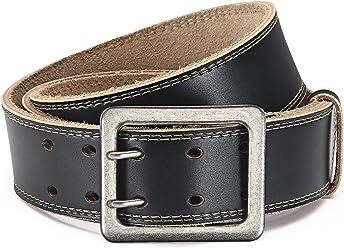 Eg-Fashion Stylischer Jeansgürtel Herren Büffelleder-Gürtel mit Doppeldorn 4,5 cm Breite - Ziernaht am Rand - Individuell kürzbar