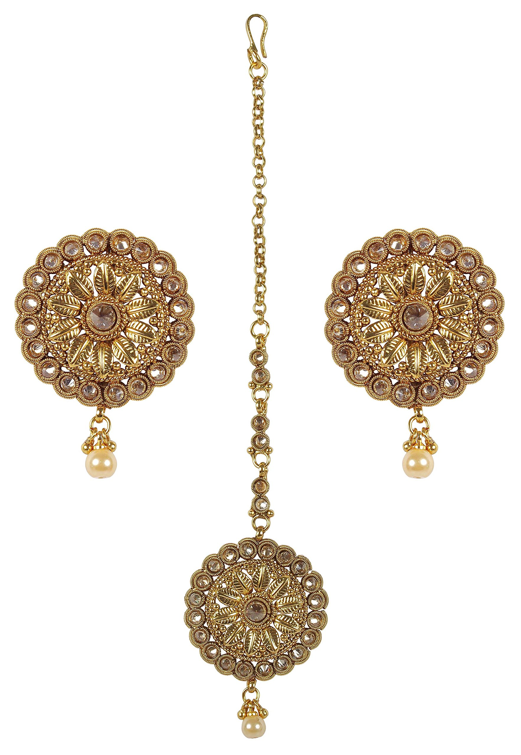 MUCH-MORE Indian Gold Plated Traditional Gorgeous Multi Stone earring with mang tikka Jewelry For Women (2295)