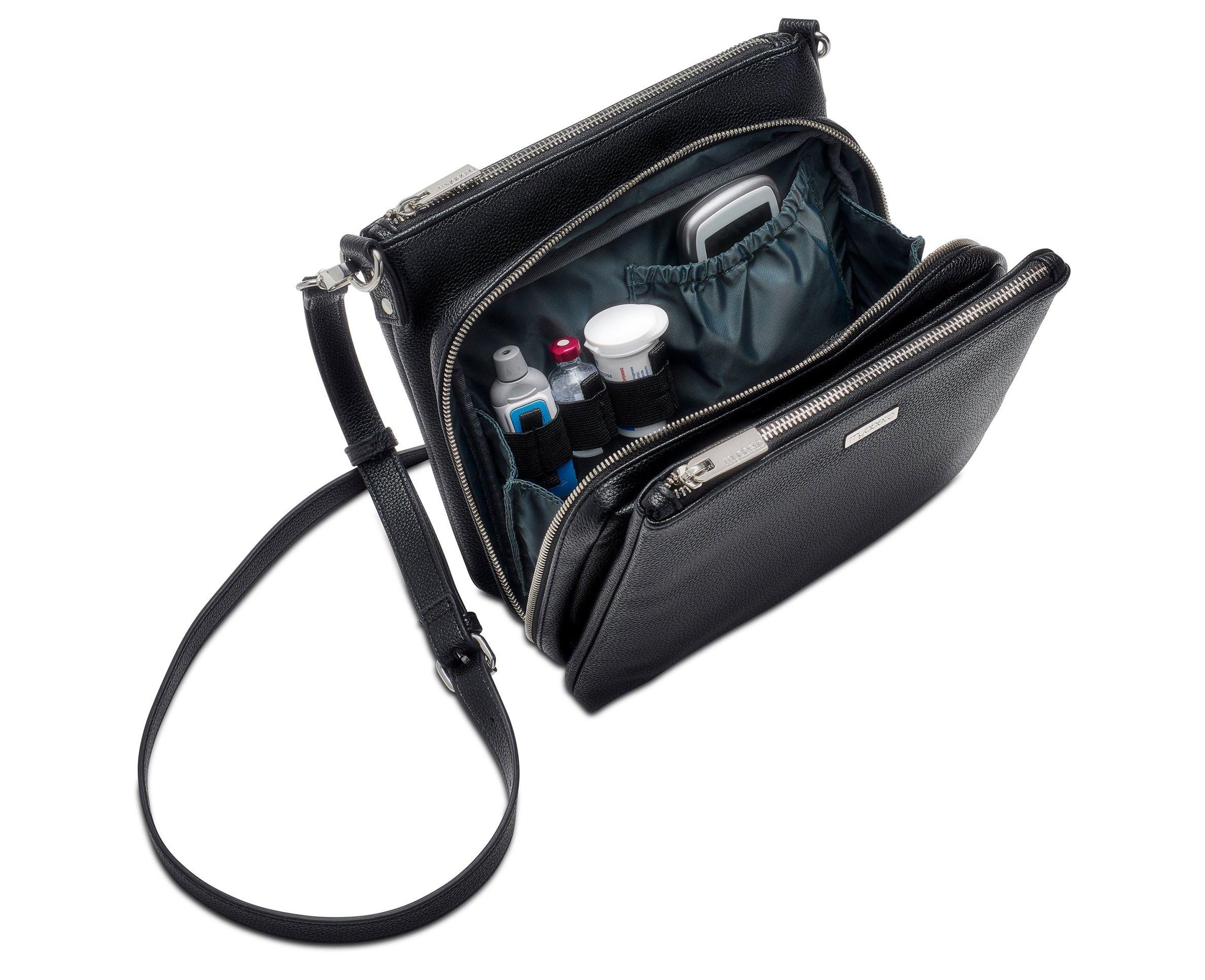 Myabetic Cherise Diabetes Handbag for Glucose Monitoring System, Insulin Pens, Insulin Vials, Test Strips, etc (Black) by Myabetic (Image #4)