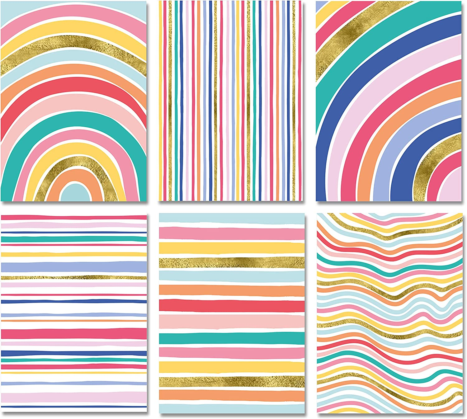 Blank Cards with Envelopes 48 Striped Gold Foil Blank Note Cards with Envelopes Blank Notecards Stationary Set for Personalized Greeting Cards-4x5.5 6 Assorted Cards for All Occasions
