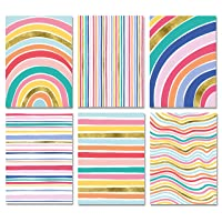 Blank Cards with Envelopes - 48 Striped Gold Foil Blank Note Cards with Envelopes – 6 Assorted Cards for All Occasions! Blank Notecards Stationary Set for Personalized Greeting Cards-4x5.5