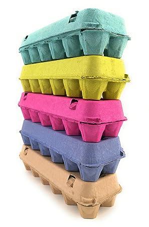 Huevo Cajas De Cartón para 12 huevos (1-Pack; Cinco Colores): Amazon.es: Hogar