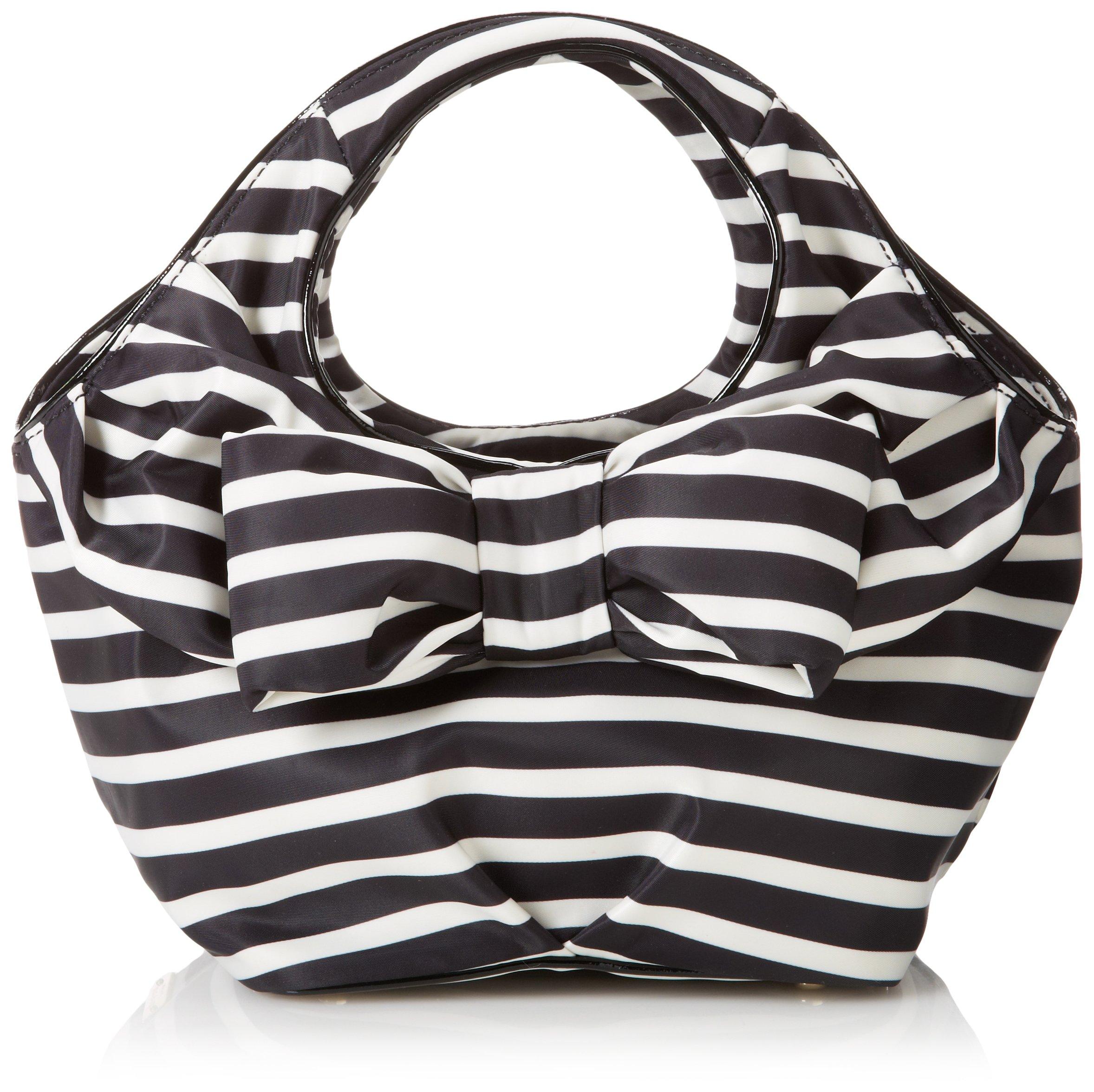 kate spade new york Nylon Stripe Tate Top Handle Bag,Black/Cream,One Size