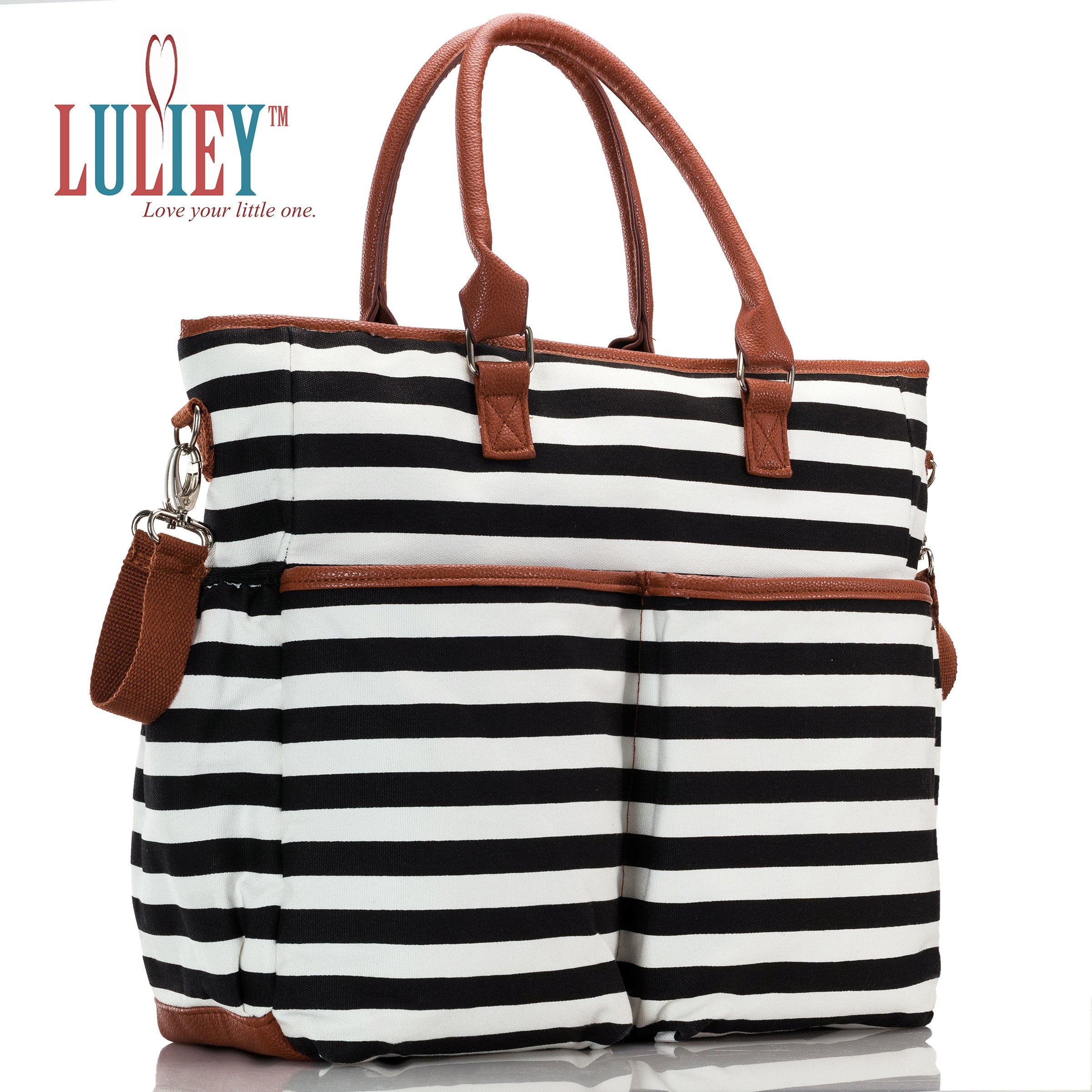 Premium Baby Diaper Tote Bag + Matching Changing Pad and Stroller Strap – 14 Spacious Pockets – Durable Canvas Material – Black and White Stripes with Tan Leather Trim – Lightweight - 14'' x 5'' x 15'' by Luliey (Image #1)