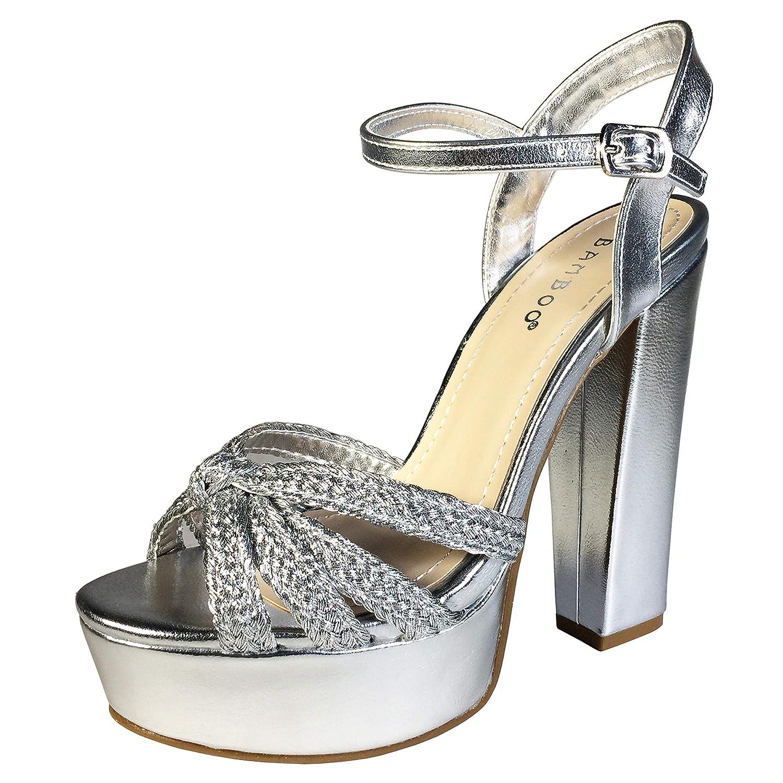 Silver Pu Bamboo Women's Braided Strap Chunky Heel Platform Sandal with Quarter Strap