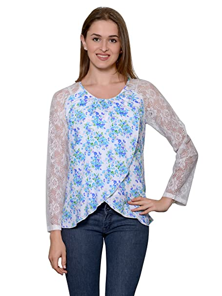 dddfa5072c435f Patrorna Blended Girl s Lace Work Long Sleeve Flap Crop Tops (LG6G009)   Amazon.in  Clothing   Accessories