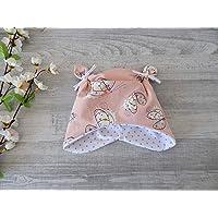 Babym/ütze Knotenm/ütze in Wunschgr/ö/ße in apricot mit Schmetterlingen 95/% Baumwolle 5/% Elasthan Innenfutter wei/ß mit Minidots in altrosa