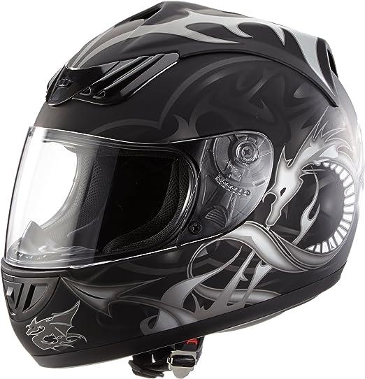Protectwear H510 11sw M Motorradhelm Integralhelm Mit Drachendesign Größe M Schwarz Silber Auto
