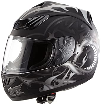 Protectwear casco de moto negro mate del dragón H-510-11-SW Tamaño