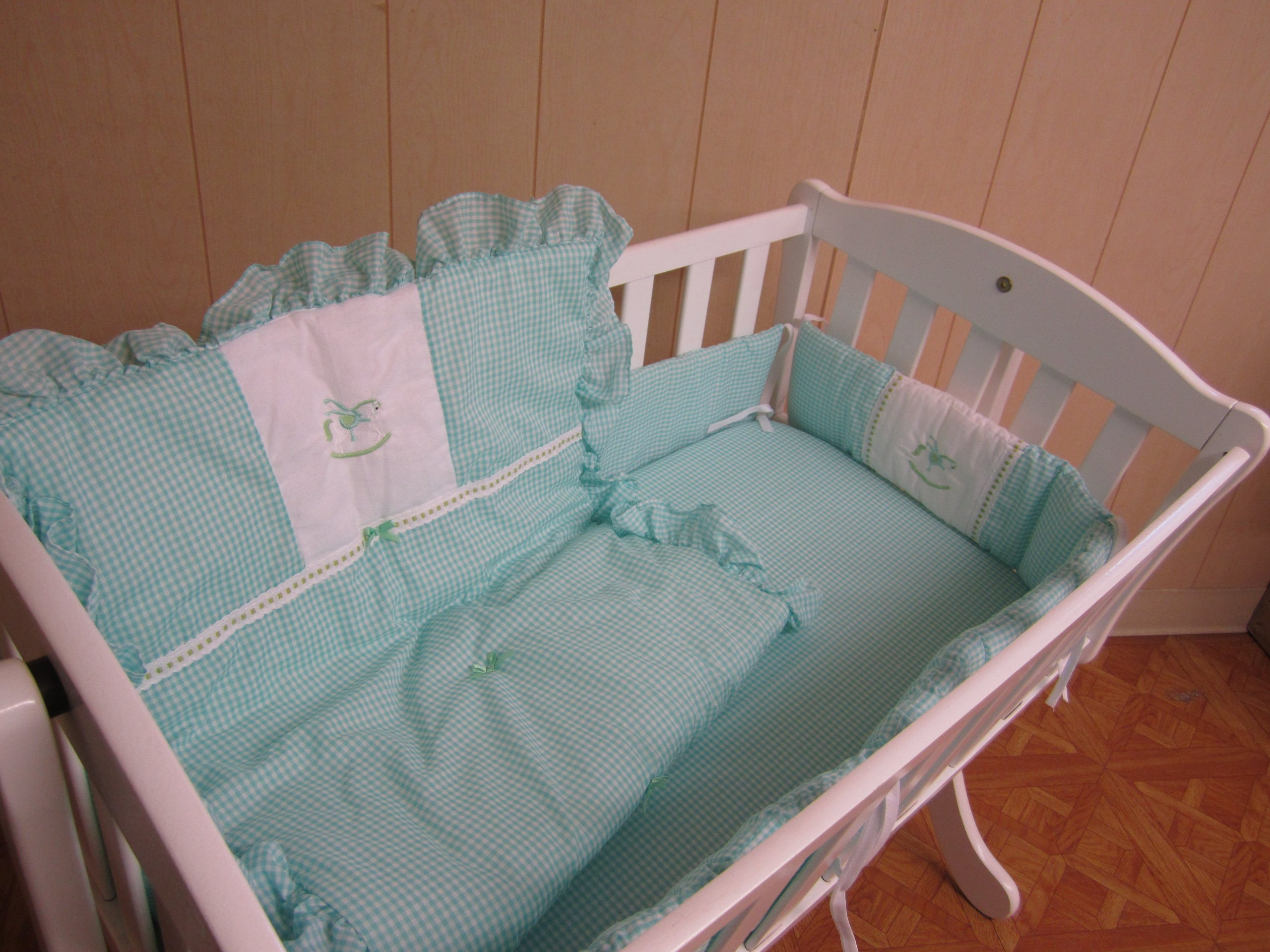 Baby Doll Bedding Gingham with Rocking Horse Applique Cradle Bedding Set, Mint