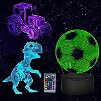 Dinosaurus Cadeaus 3D-lamp Speelgoed Nachtlampje met 3 patronen en 16 kleuren veranderende decorlamp, perfecte cadeaus…