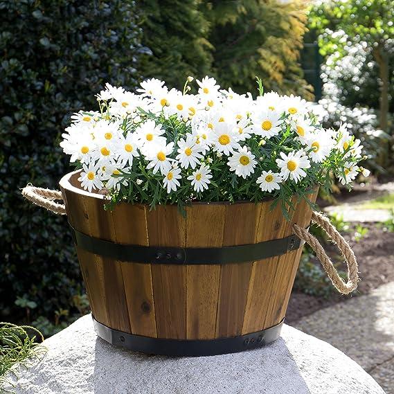 by Park Alley Fioriere e Decorazioni per il Giardino o il Balcone Set da 3 Mastelli in Legno Tinozze per Fiori con Manici adatte a Esterni