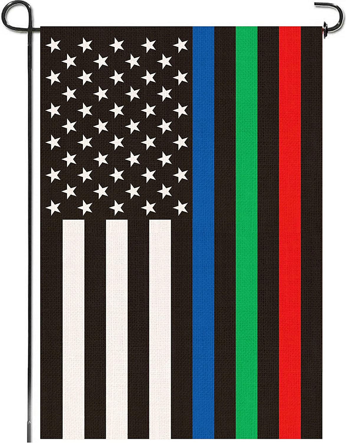 Mogarden American Thin Blue Green Red Line Garden Flag, Honoring Police Military and Firefighters, Thick Weatherproof Burlap USA Yard Flag
