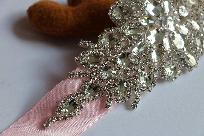 Idepy Womens Crystal Rhinestone Bridal Sash Wedding Belt with Long Ribbon for Bridesmaid Party Formal Evening Prom Dress