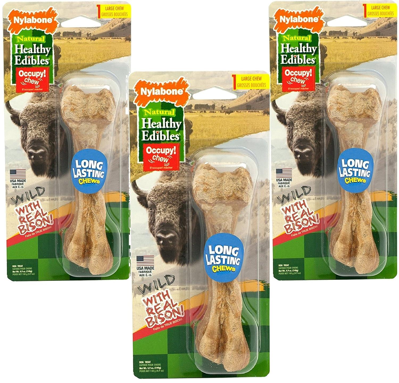 (3 Pack) Nylabone Healthy Edibles Wild Bison Dog Treat Bones Size Large, 4.9 Oz Each