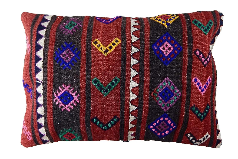 Kaan EuroHand 24 x 16 Inch Anadolu Designed No Insert Included Rectangular Shaped Pillowcase Anatolian Village Handmade Turkish Wool Kilim Pillowcase with Hidden Zipper