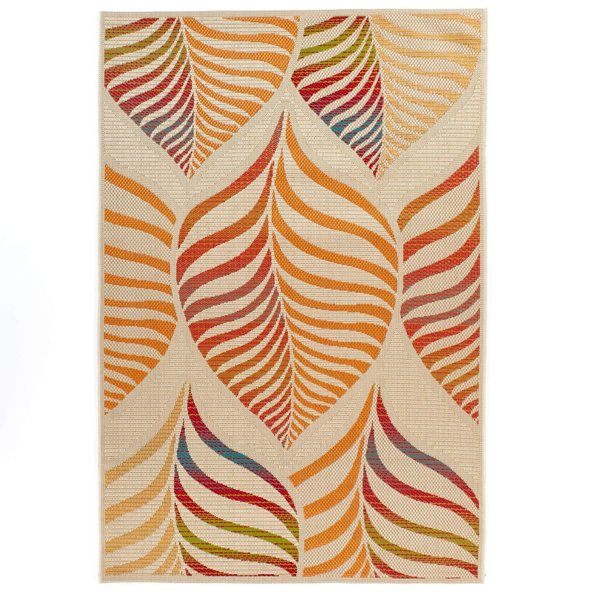 Carpet Art Deco Bellaire Collection Indoor Outdoor Rug, 5'3'' x7'5, Beige/Orange/Red