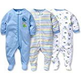 Gerber Baby Boy's 3 Pack Zip Front Sleep and Play