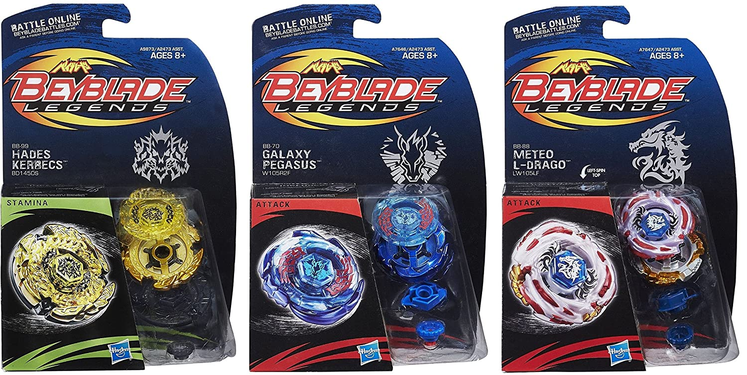 Beyblade Legends BB-99 Hades Kerbecs BD145DS Top  BB-70 Galaxy Pegasus W105R2F Top & BB-88 Meteo L-Drago LW105LF Top Bundle Hasbro