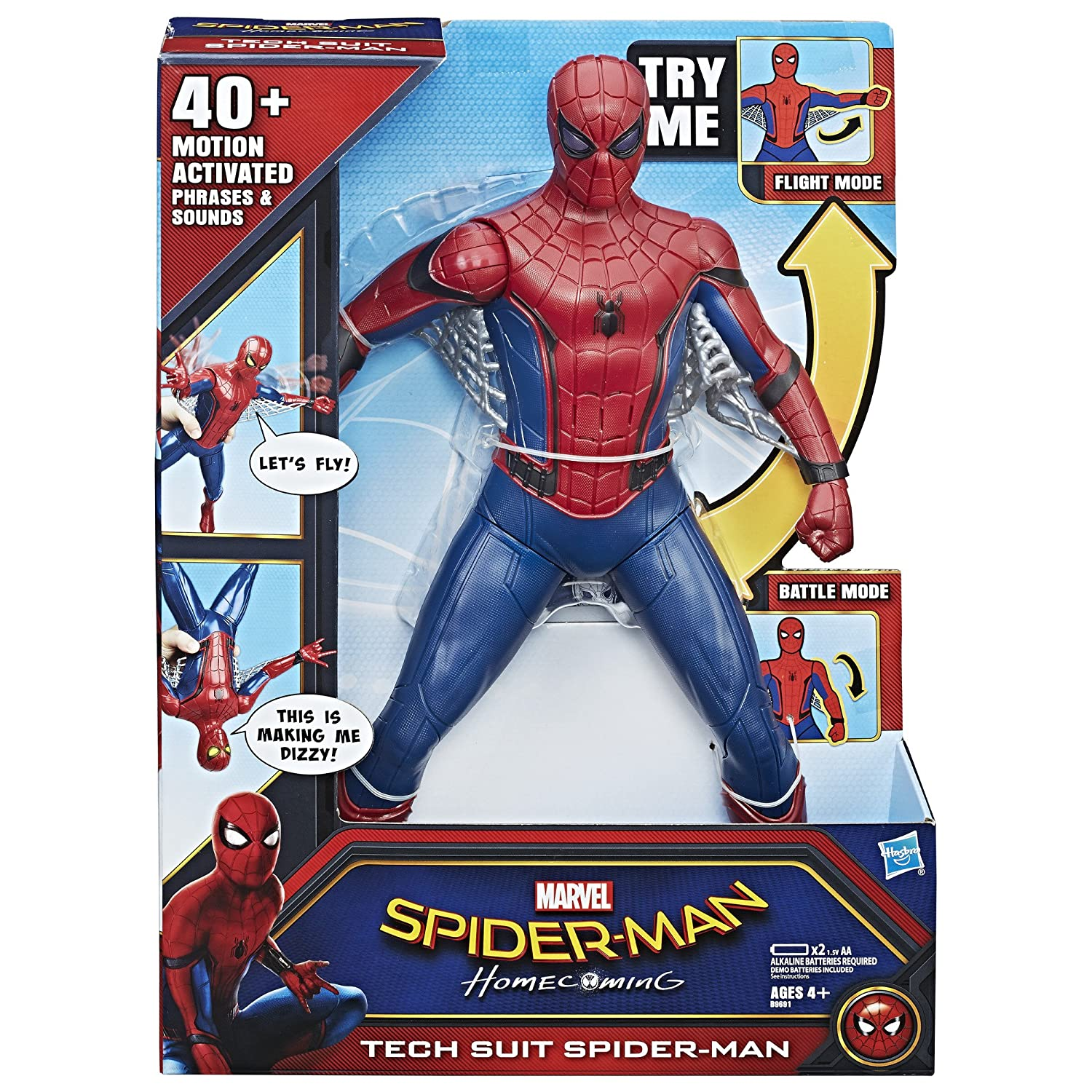 3837c48fa6b Amazon.com: Spider-Man: Homecoming Tech Suit Spider-Man,15 inches: Toys &  Games