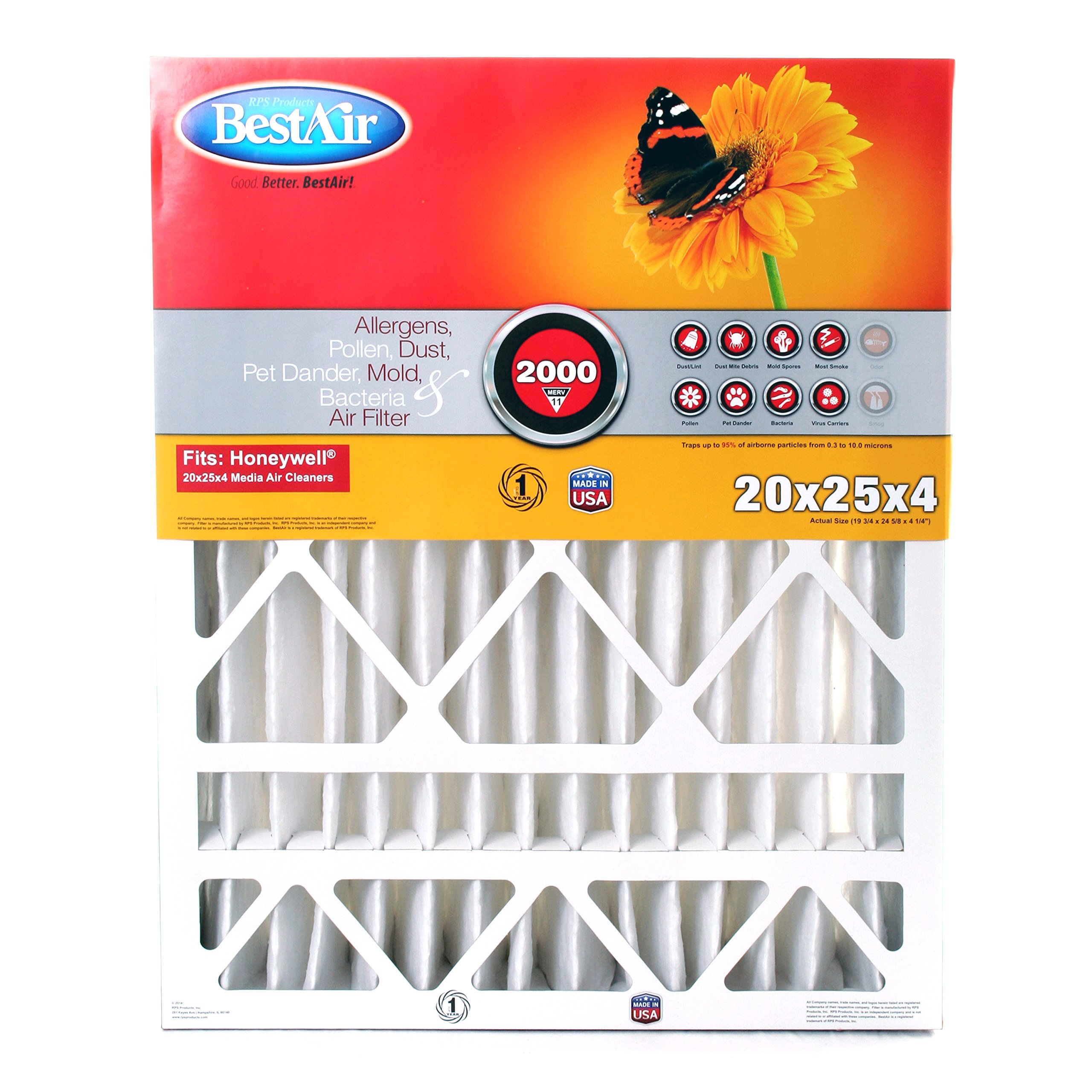 BestAir HW2025-11R Furnace Filter, 20'' x 25'' x 4'', Honeywell Replacement, MERV 11