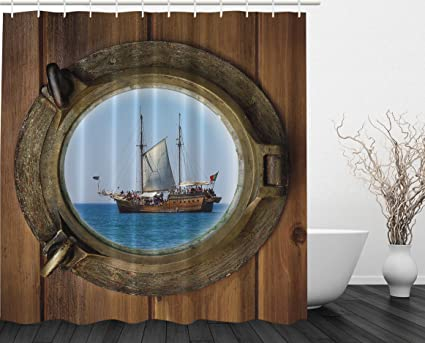 Ambesonne Better Curtains Pirate Ship Porthole Sailor Polyester Shower  Curtain, 69 X 70 Inch