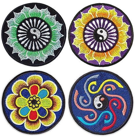 Yin & Yang - Juego de 4 parches bordados con diseño de ...