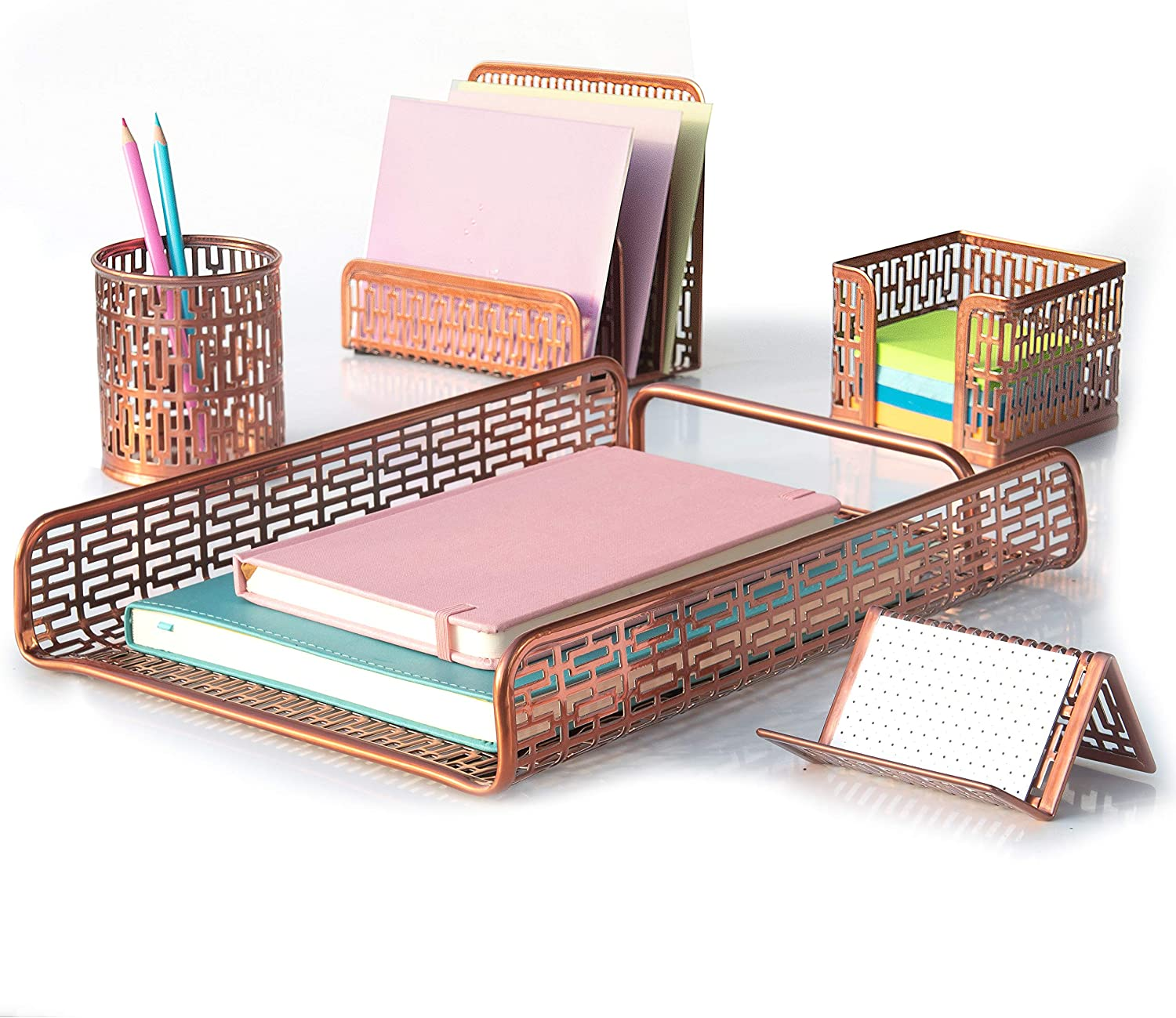 Hudstill Desk Organizer Set Home Office Supplies Accessories Decor with Paper Tray, Mail Organizer, Pen and Pencil Cup, Sticky Notes Holder and Business Card Holder or Cellphone Stand (Rose Gold)