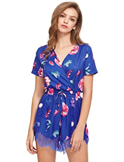 b0028def8613 Amazon.com  Choies Women s Floral Print Long Sleeves Romper Playsuit ...