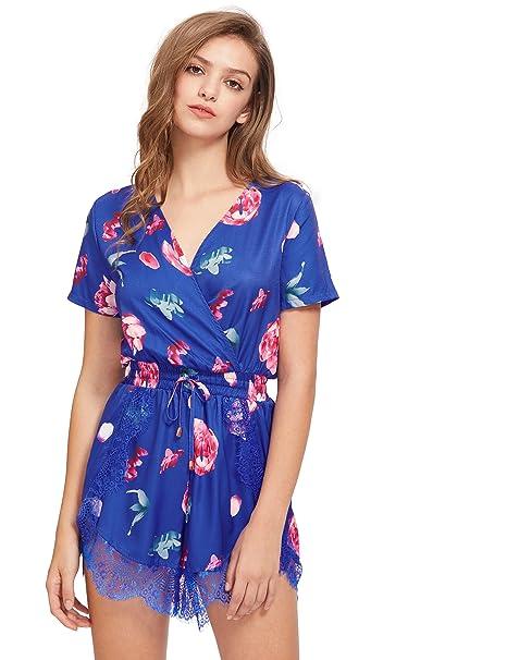 faf7a8ca1e4c Floerns Women s Wrap Front Floral Print Romper Shorts Jumpsuit Playsuit Blue  S