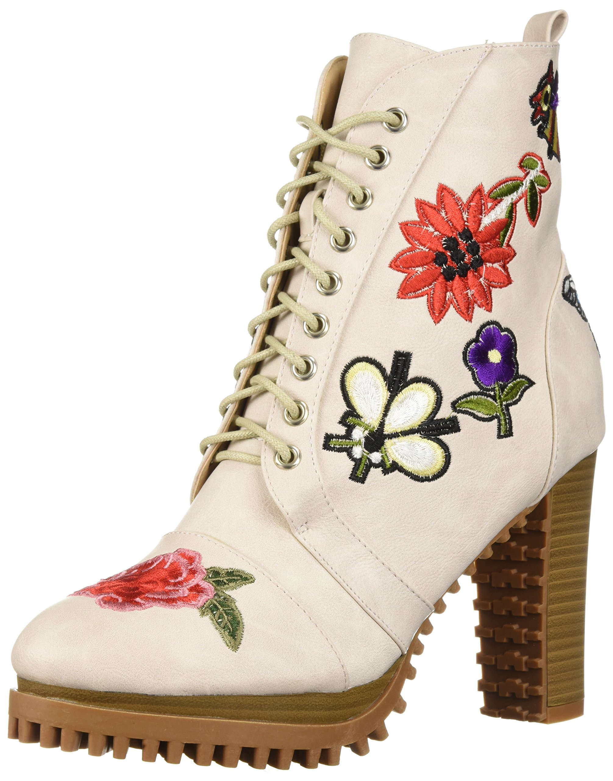 Penny Loves Kenny Women's Frank Combat Boot, White Distressed, 9 Wide US
