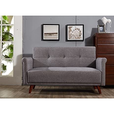 US Pride Furniture Scully Modern Linen Fabric Button Tufted Upholstered  Loveseat Grey