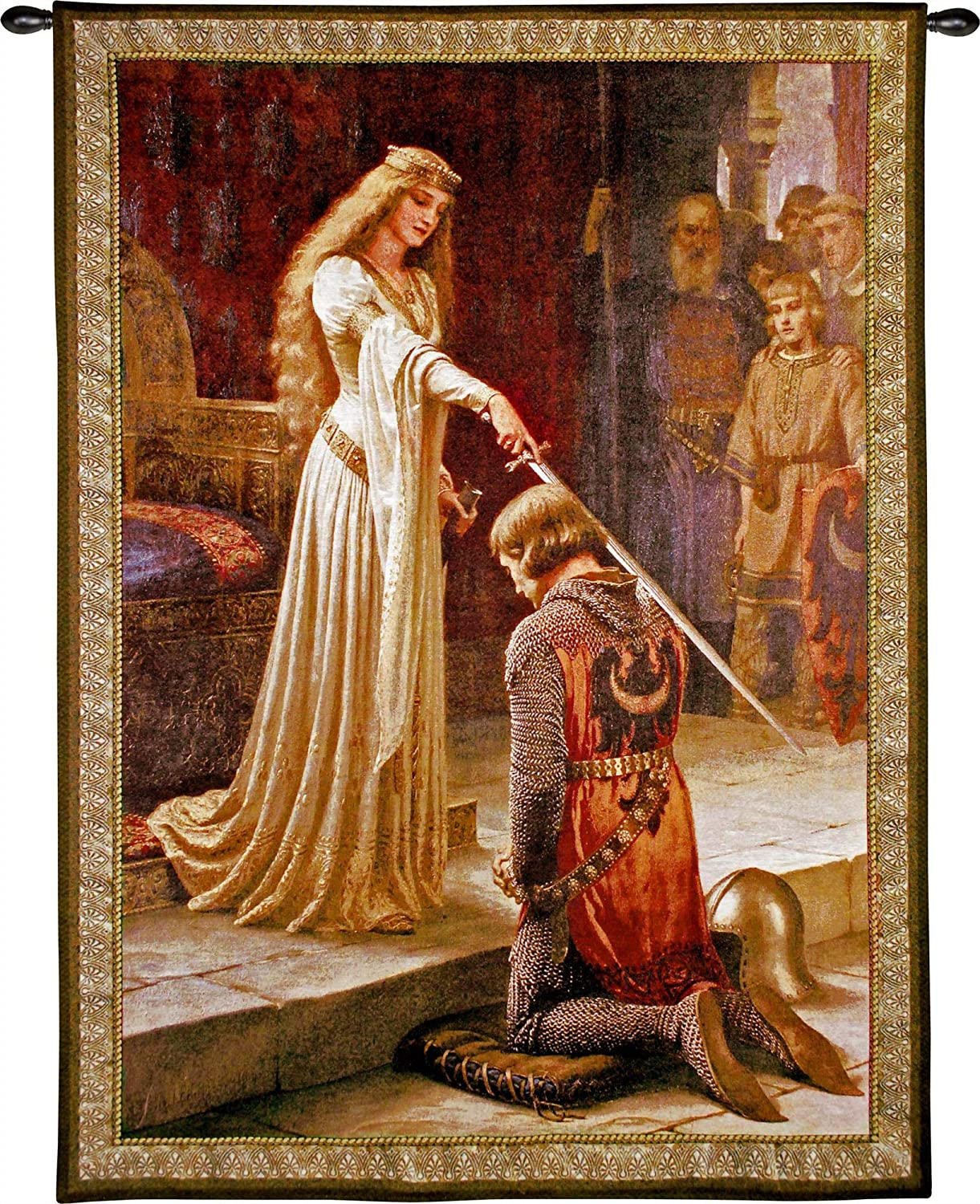 The Accolade by Edmund Blair Leighton | Woven Tapestry Wall Art Hanging | Medieval Romantic Renaissance Masterpiece | 100% Cotton USA Size 40x31