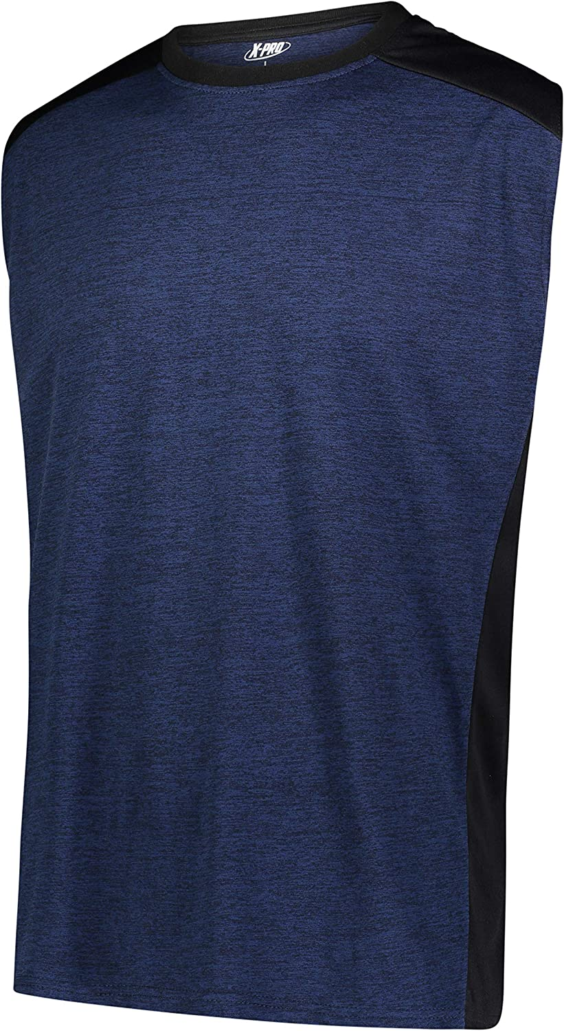X-Large, Navy X-PRO Mens Sleeveless Dry-FIT Athletic Performance Tee for Men 3 Pack Moisture Wicking T-Shirts