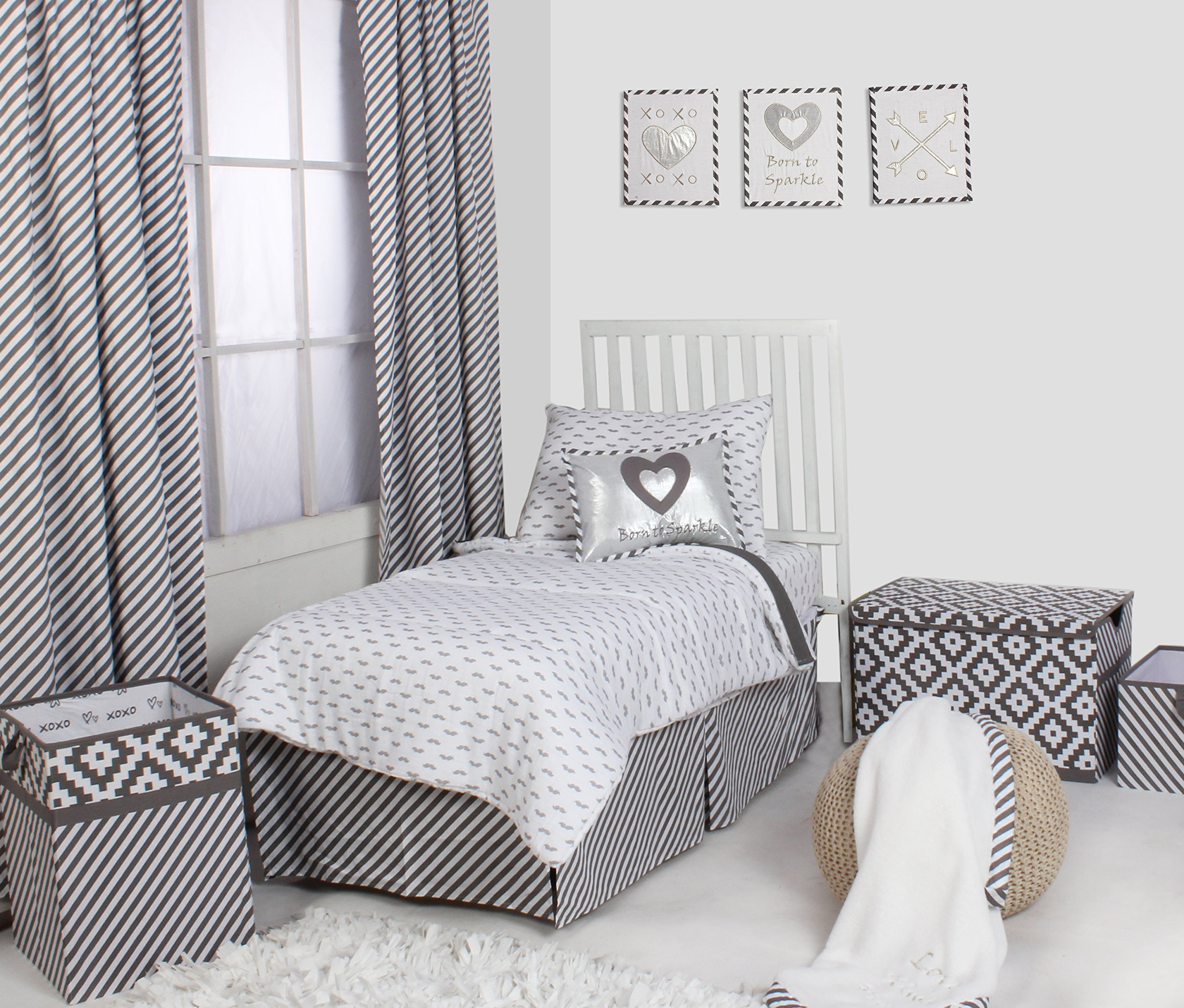 Bacati Moustache/Plus Unisex Muslin 4 Piece Toddler Bedding Set, Grey