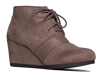 Amazon.com | Wedge Ankle Boot - Low Heel Bootie - Casual ...