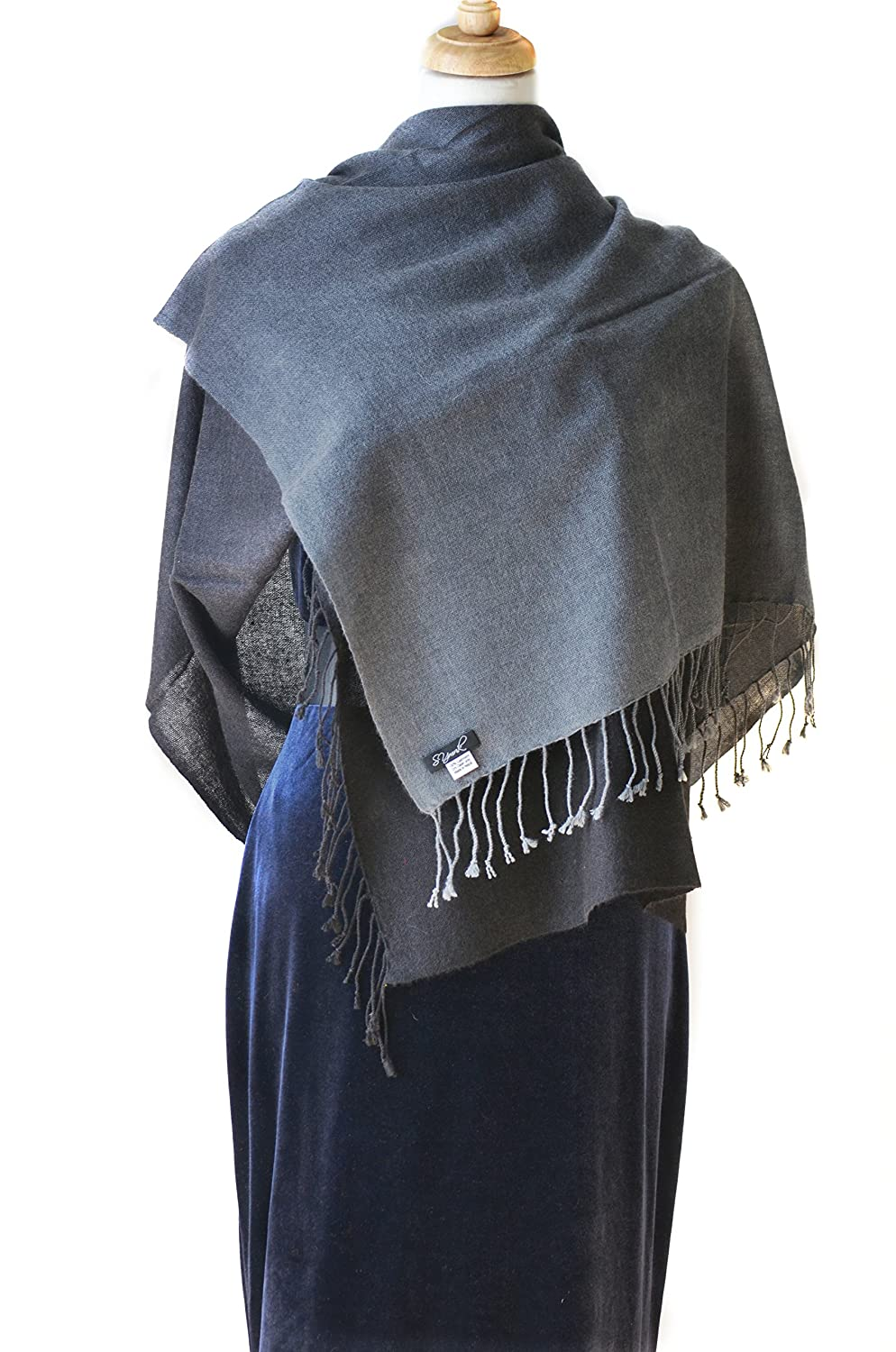 Black Grey Cashmere Shawl Scarf Handmade 100% Pure Lightweight Oversized