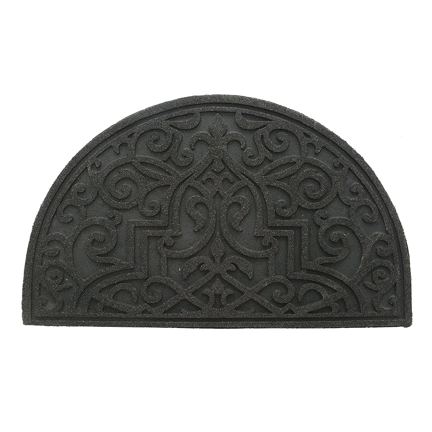 Stephan Roberts 30N-18RM65-06 Recycled Rubber Doormat, 18'' x 30'' Gibraltar Scroll Slice Stone