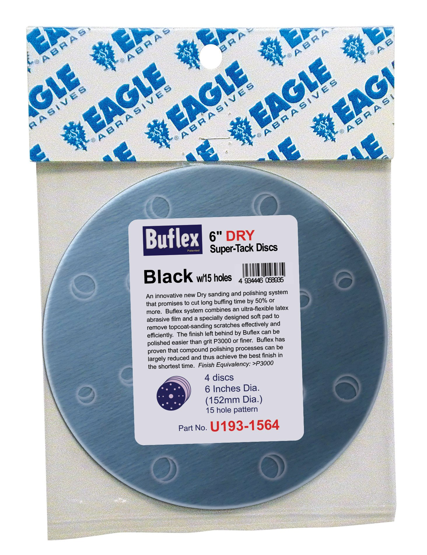 Eagle U193-1564 6 inch DRY Super Buflex Discs - 15 Holes - BLACK (K3000) - (Job-Pak) - 4 Discs/Pack