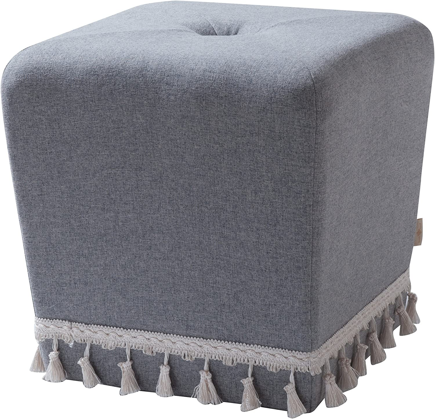 Jennifer Taylor Home Colleen Fringe Square Accent Ottoman, Light Grey