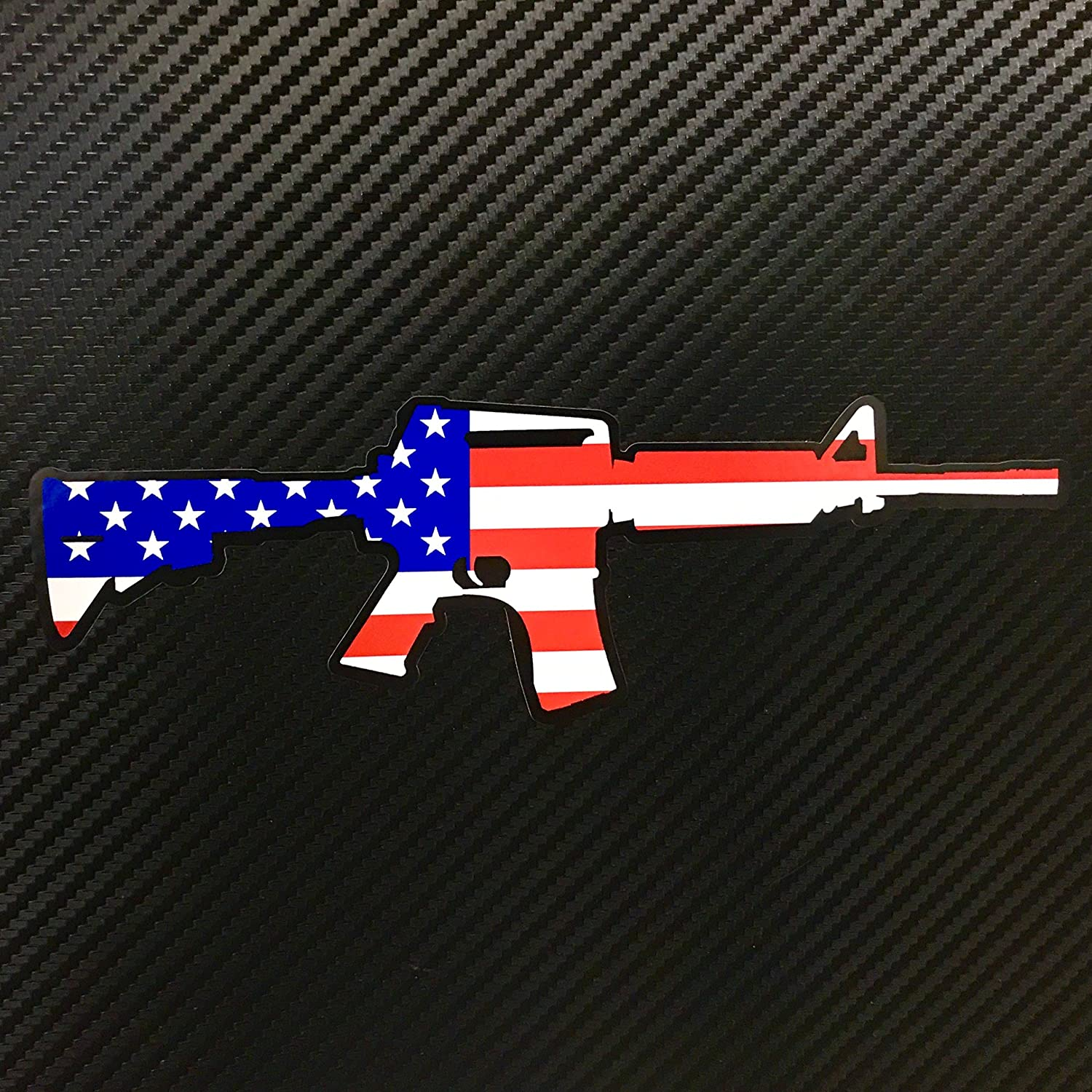 Amazon com ar15 american flag color sticker gun custom vinyl usa merica united states marines army navy airforce red white blue black computers