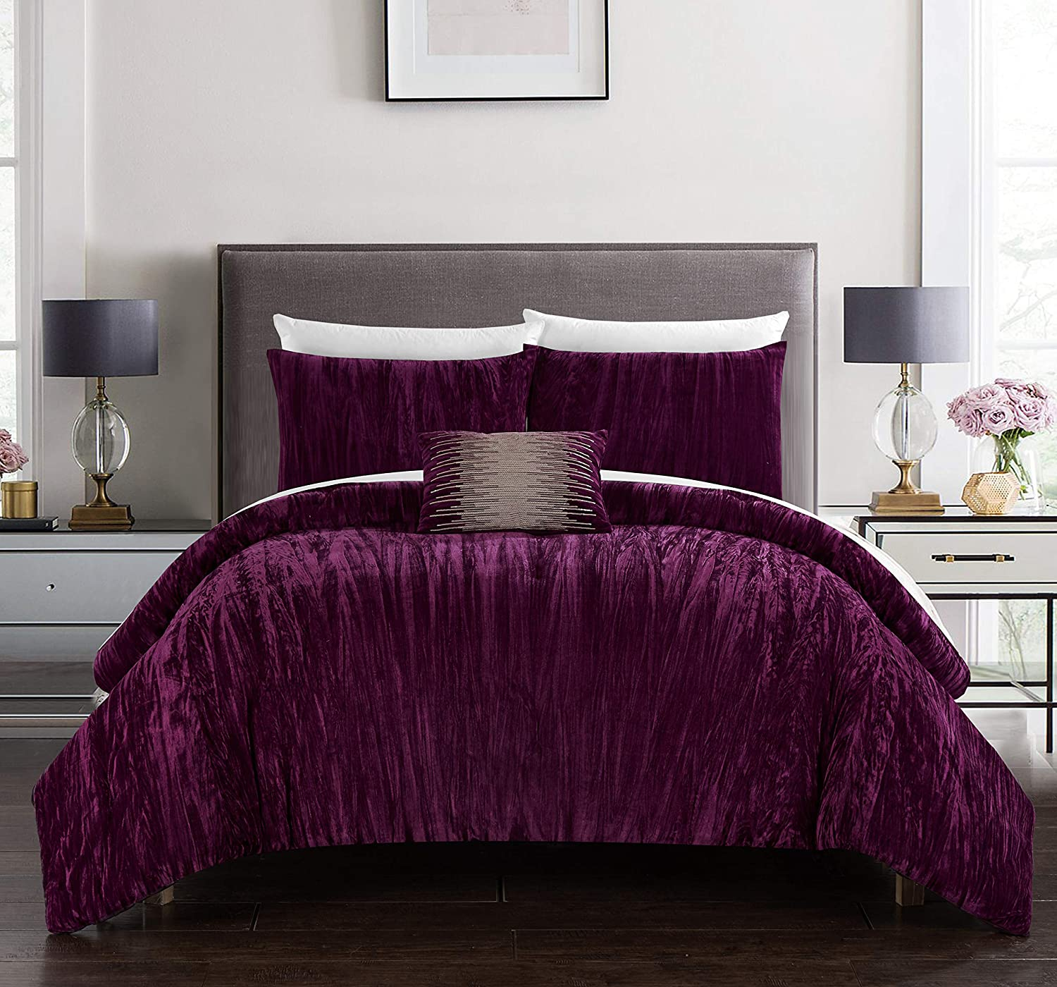 Chic Home Westmont 4 Piece Comforter Set Crinkle Crushed Velvet Bedding - Decorative Pillow Shams Included Queen Plum