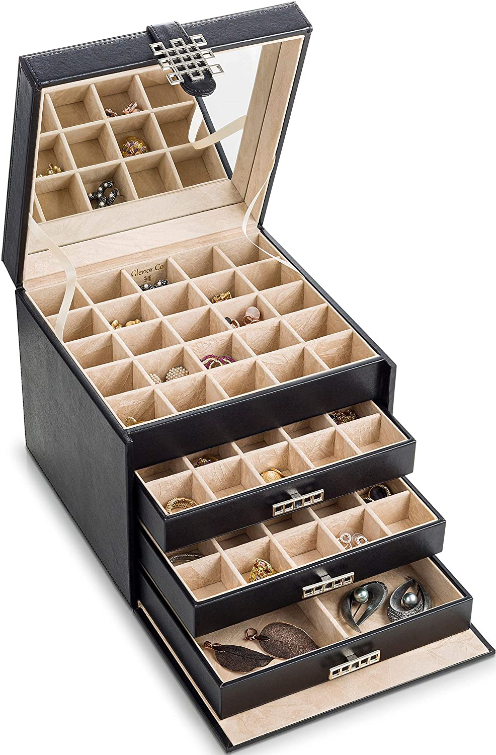 Glenor Co Earring Organizer Holder - 75 Small & 4 Large Slots Classic Jewelry Box with Drawer & Modern Closure, Mirror, 4 Trays Earrings, Ring or Chain Storage - PU Leather Case - Black